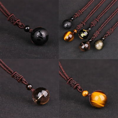 Natural Crystal Stone Rainbow Eye Bead Transfer Luck Ball Pendant Necklace Gift