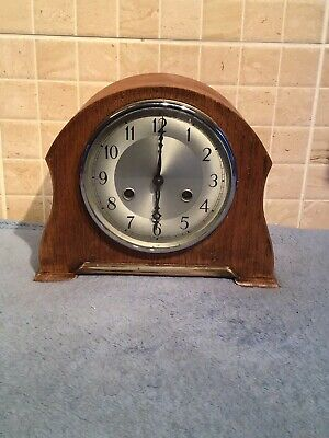 Antique Wooden Mantle Clock With Chimes Brass Workings