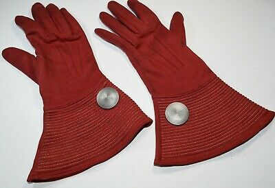 Vintage Art Deco Gloves Gauntlets  Retro Machine Age Trapunto Aluminum 1940