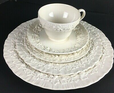 Wedgwood Embossed Queens Ware Cream on Cream 5-Piece Lot Plates & Tea Cup