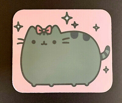 MOUSE PAD Pusheen Fat Cute Cat with Pink Bow GIRL'S COMPUTER MOUSEPAD NEW