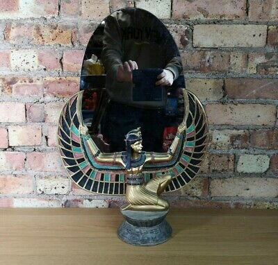 """Egyptian Isis Goddess Female Winged Statue Figurine with Oval Mirror 23"""" Height"""