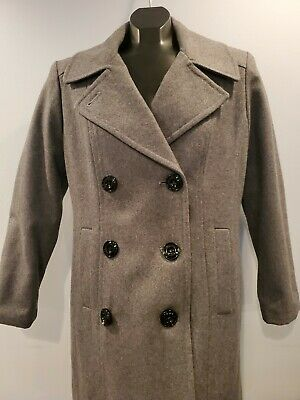 Anne Klein Womens Petite Medium PM Wool Blend Pea Coat Winter Gray Double Breast