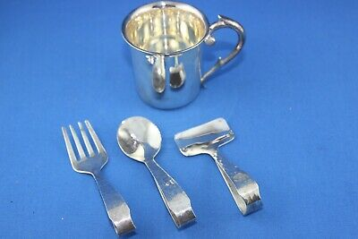 Great Vintage Sterling Silver Unsigned Baby Cup, Fork, Spoon & Pusher In Box