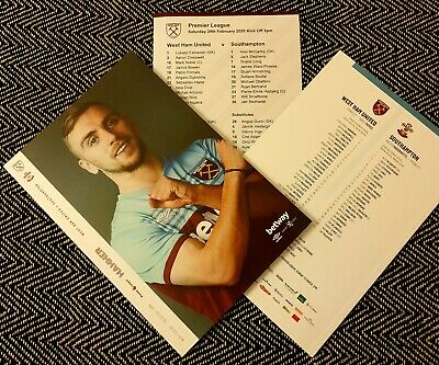 West Ham United v Southampton Programme with official teamsheet 29/2/20!