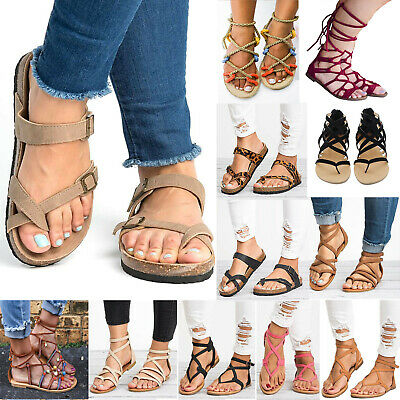 Womens Summer Flat Lace Up Sandals Gladiator Strappy Beach Flip Flops Shoes Size