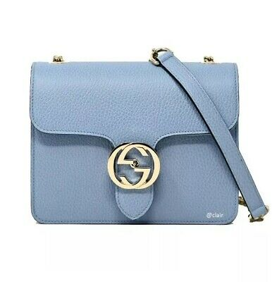 Authentic Gucci GG Interlocking Mineral Blue Leather Cross Body Bag New RRP$1650
