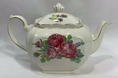 Windsor China Teapot Pink Roses Gold Trim & Blue Small Flowers Floral England