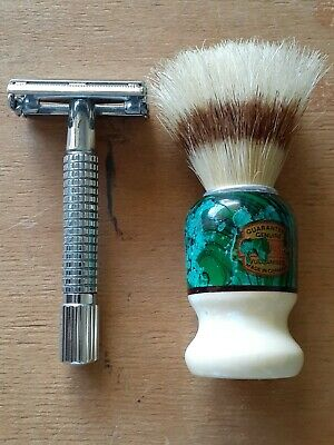 Vintage Style DE Double Edge Safety Razor  And Vintage Boar Shaving Brush
