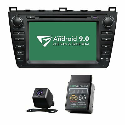 "CAM+OBD+Android 8""Best Car Stereo Apple Car Play Radio GPS DVD For Mazda 6 09-12"