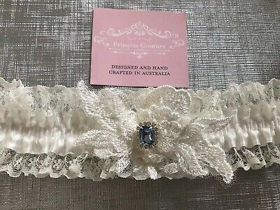 Offwhite Couture LACE Garter Something blue Handmade
