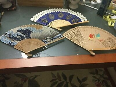 Choice of 4 vintage ladies folding hand fans hardly used if at all Unwanted gift