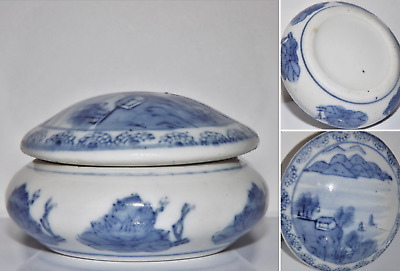 Antique Chinese Blue and White Porcelain Ink Box Hand Painted Ming Dynasty