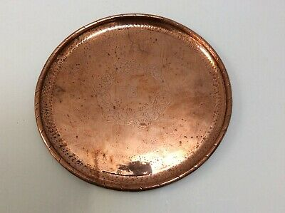 Heavy Signed Hugh Wallis Antique Copper Round Tray In Vgc.