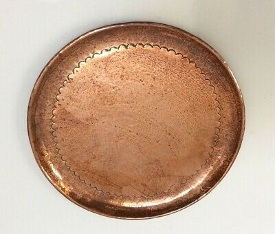 Signed Newlyn Medium Sized Round Copper Tray / Charger In Vgc.