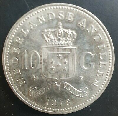 1978 Dutch Antilles 10 Gulden Silver aUNC++