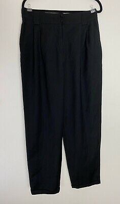 Vintage Country Road High Waist Black Wool Cuffed Pants Size 14 VG preowned