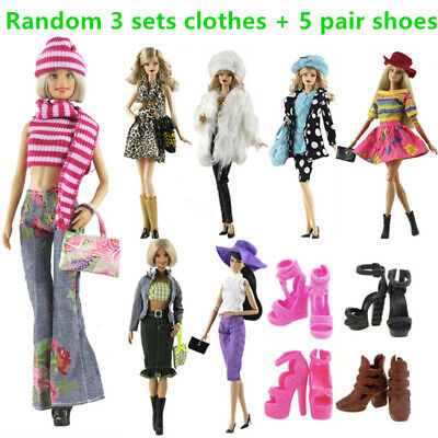 Barbie Doll Outfits Clothes Dress Shoe Hat Handbag Fashion Clothing Accessories