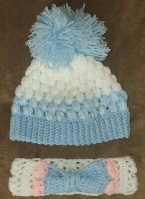 HANDMADE CROCHET BABY TWINS HEADBAND AND HAT BLUE WHITE PINK AGE 0-3MONTHS 38cm