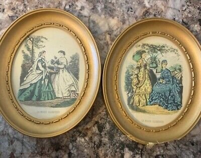 Vintage Oval Framed Victorian French Fashion Prints La Mode Illustree Pair of 2