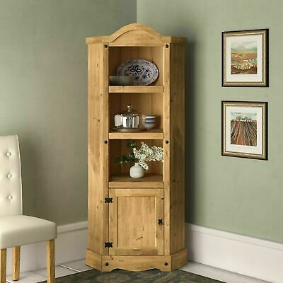Antique Large Corner Display Unit Tall Solid Wood Bookcase Cabinet Free Standing