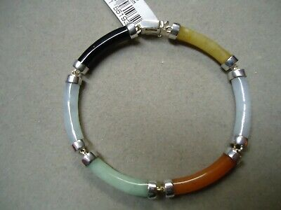 Sterling Silver 925 Black Red Green Yellow White Jade Carved Tube Bracelet