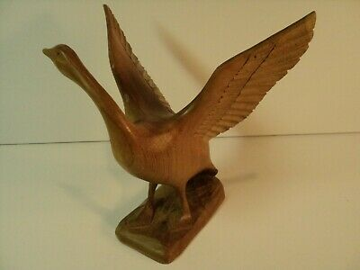Vintage Hand Carved Wooden Goose with extended wings. 6.6 inches tall.  NICE