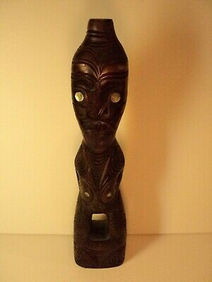 Vintage hand Carved Wooden Tekoteko Maori Figure. Made in New Zealand.