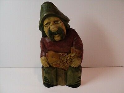 Vintage Old man with fish. Hand carved and painted  Made in Poland NICE