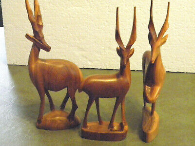 3 Beautiful Vintage Hand Carved Wooden Gazelles Antelope Impala Kenya 10 1/4""