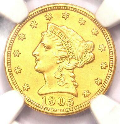 1905 Liberty Gold Quarter Eagle $2.50 Coin - NGC Uncirculated Detail (UNC MS)!