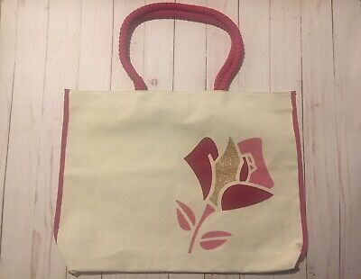 Lancome Paris Pink Summer Canvas Beige Rose w/Gold Tote Shopping Beach Bag