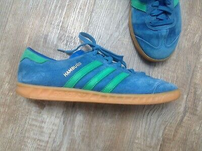 ADIDAS HAMBURG TRAINERS Shoes Mens UK 7.5 Blue Suede US 8