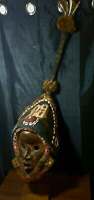Mask African Carved Wood Tribal Wall Hand Vintage Art Wooden Face Decor 1284