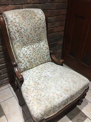 Antique Victorian upholstered mahogany parlour chair nursing bedroom
