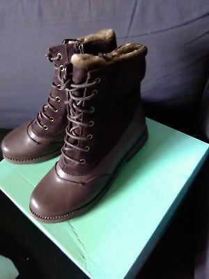 Girls Clarks Gypsy Lee Brown Leather/Suede Boots Size 1F (Kids)