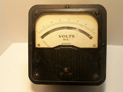Vintage Weston Voltmeter Model 921 Panel Meter 80 Volts DC