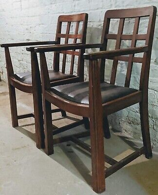 HEALS Set of 6 Antique Oak Dining Chairs - 2 Carvers and 4 Singles