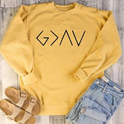Christian Sweatshirt God Is Greater Than The Highs Lows Logo Full Sleeve Tops
