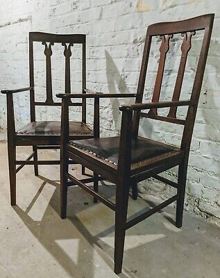 Antique Pair of Arts & Crafts Oak Carver Library Bedroom Chairs