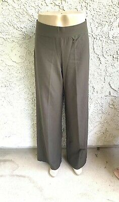 168$ EILEEN FISHER Graphite Stretch Crepe Straight Leg Pants Small