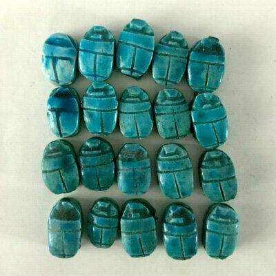 Ancient Egyptian Scarab - Ceramic beadles 20 beads made in Egypt {Lot of 20 Pcs}