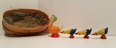 Vintage Mother Goose & 3 Duckling Handcrafted Wood Miniatures Mrs Goose-Germany