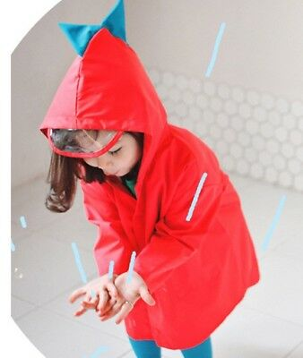 ECO PANDA Kid Toddler Cute Quality Raincoat Boys Girls Dinosaur (Red/M) 2-4 year