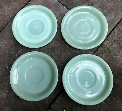 Lot Of 4 Fire King Fireking Jadite Jadeite Restaurant Ware Rw Cup Saucers