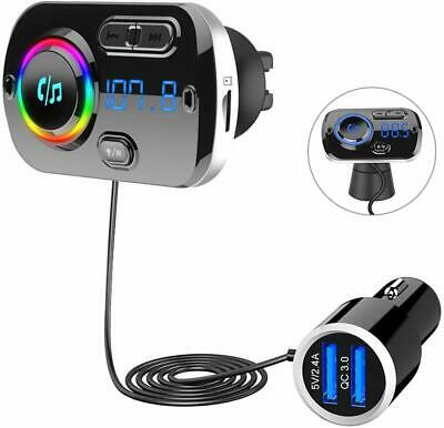 Wireless Bluetooth 5.0 Handsfree Car FM Transmitter MP3 Player USB Fast Charger