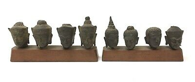 Eight 15th-17th C. Thai Bronze Buddha Heads w/ Base Ayutthaya Kingdom