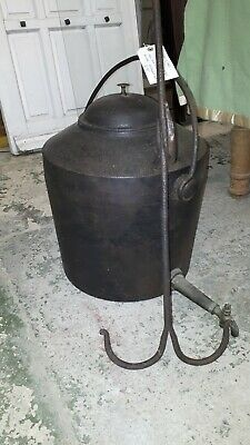 Kendrick & son's Vintage Cast Iron Water Boiler and cast iron fireplace hanger
