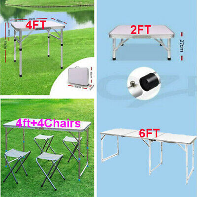 Portable Folding Camping Picnic Table & Chairs 4 6FT / 2FT Laptop Bed Tray Table