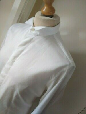 "PAL ZILERI Dress Shirt Size XL Wing Collar Tuxedo Designer Mens 16"" Col White"